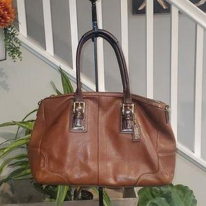 Coach brown pebble leather Hamilton satchel bag